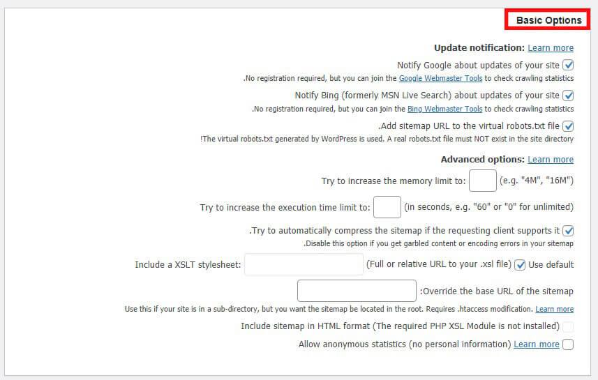 گزینه های پایه در افزونه نقشه سایت