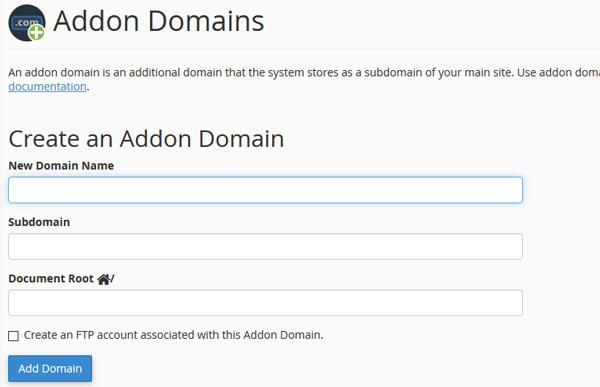 اتصال دامنه به هاست به صورت Addons